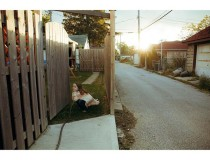 #hiding from her #sister #documentingchildhood #evening #alley #fall